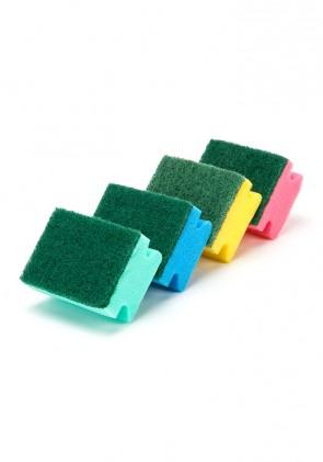 Estropajo con salvauñas colores surtidos pack de 4 unidades.